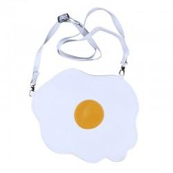 Cute egg white messenger bag - with adjustable strap