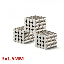 Imán cilíndrico de neodimio N35 - 3 * 1,5 mm - 100 piezas