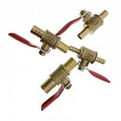 Ball valve with red handle - 6mm - 12mm - for water / oil / air / gas / fuel line shutoff - brass