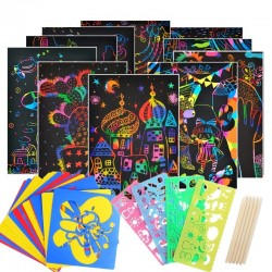 Color rainbow - scratch art paper card - set with graffiti stencil