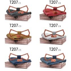 Hollow vintage wooden neckties - with cufflinks