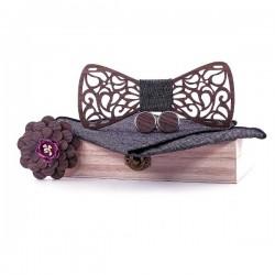 Manschettenknöpfe - Reversblume - Taschentuch - Fliege - Nackenbügelriemen - Holzset