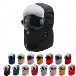 Thick warm winter hat - with eye protection