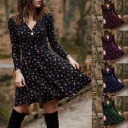 Kleines Minikleid - Langarm - V-Ausschnitt - Vintage-Blumendruck