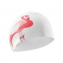 Flamingo swimming cap - ear protection - silicone - women