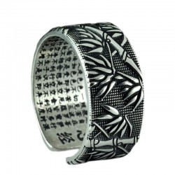 Buddhism sutra - bamboo leaves - ring - resizable - 925 sterling silver