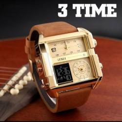Men's sports watch - 3 time zones - quartz - leather band