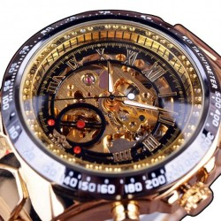 Mechanical sport watch - skeleton dial design - stainless steel