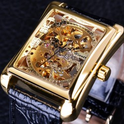 Rectangular retro watch - hollow skeleton dial - mechanical movement