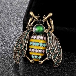Rhinestone bee brooches - with crystal decoration
