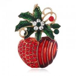 Red flower apple brooch