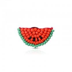 Beaded watermelon - acrylic brooch
