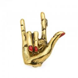 Punk hand gesture - red nail polish - brooch