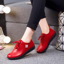 Leather / cotton lace up shoes
