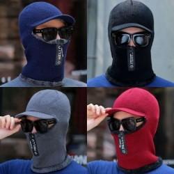 Winter Strickmütze mit Visier - Gesichtsschutz - Sturmhaube mit Reißverschluss