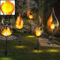 Gartenbeleuchtung mit Flammeneffekt - Metalllampe - LED - Solar - wasserdicht
