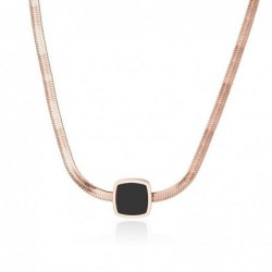 Rose gold snake chain necklace - with black charm