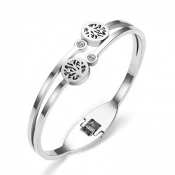 Stainless steel - cuff bracelet - with crystal decoration