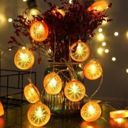 Fruchtscheiben geformte Lichterkette - batteriebetrieben / USB - Zitrone / Limette / Orange