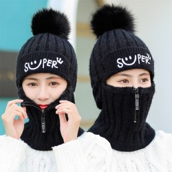 Winter knitted hat with...