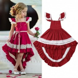 Elegant red dress for girls - with lace ruffles - irregular length