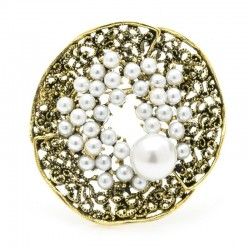 Pearl flower - crystal brooch