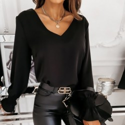Elegant long sleeve blouse - backless - with decorative lace