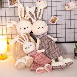 Rabbit in checkered dress - stuffed toy / doll