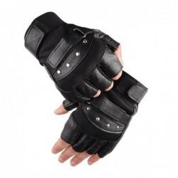 Gants en cuir militaire - avec rivets - design demi-doigt - pour gym / fitness