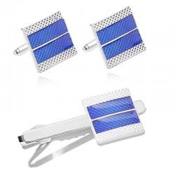 Boutons de manchette / pince à cravate carrés bleus - alliage de zinc