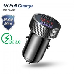 Adapter for car - phone - digital display -  iphone -  samsung - huawei - quick - voltage monitoring