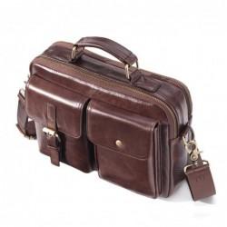 Vintage shoulder bag - with strap / zippers - genuine cowhide leather