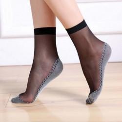 Soft socks - with non-slip bottom - transparent thin silk