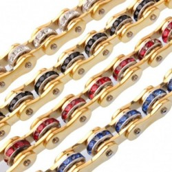 Motorcycle chain bracelet - unisex - with crystal decoration