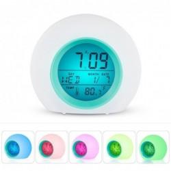 Runder LED-Wecker - bunt leuchtende Hintergrundbeleuchtung - Thermometer - Kalender - Datum