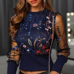 Embroidery floral blouse -...