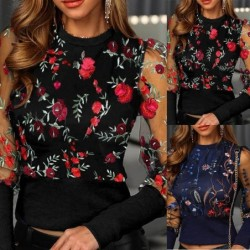 Embroidery floral blouse - with see through long sleeves
