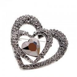 Black heart shaped brooch -...