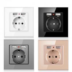 Electrical power socket - glass panel - designer