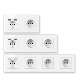 Electrical wall power socket usb - crystal glass  - french design