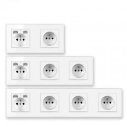 EU wall socket - with USB ports - crystal glass panel - French standard