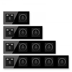 EU wall socket - French standard - with USB ports - crystal glass wall panel - black
