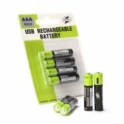 Lithium-AAA-Batterien - USB wiederaufladbar - Schnellladung - 1,5 V - 600 mAh - 2/4 Stück