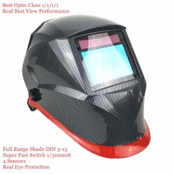 Auto darkening welding helmet - optical class - 100 * 65mm - skull / flames / blue racer