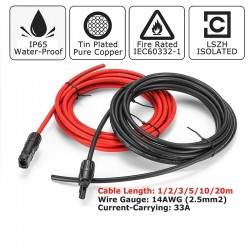 Solar cables - 2.5mm - copper - black and red