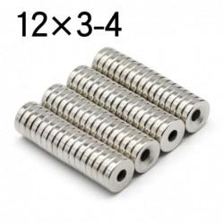 N35 - Neodym-Magnet - runde Scheibe - 12 * 3mm - mit 4mm Loch - 10 - 50 Stück