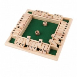Shut the box - dice board game - 4-sided - 10 number - wooden toy - 4 players