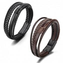 Trendy mens bracelets - stainless steel - multilayer braided rope unisex