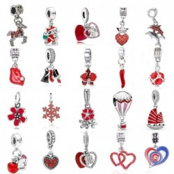 Red charm pendant - men women children - for bracelets -necklaces - gift - 2 pieces