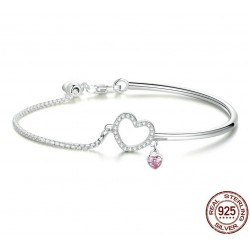 WOSTU authentic sterling silver love charm bracelet - for women - anniversary - romantic - gift